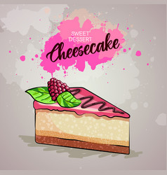 Cheesecake on artistic watercolor background vector