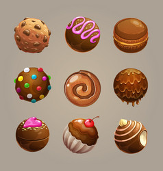 chocolate candy balls set round glazed sweet vector image