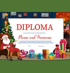 christmas holiday kids diploma template vector image