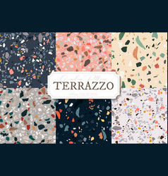 collection terrazzo abstract backgrounds vector image