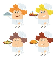 Cooks women with trays set vector