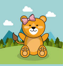 Cute lion girl bow adorable landscape natural vector