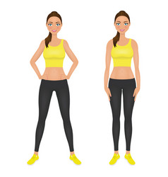 Cute smiling fit girl with hands on the hips vector