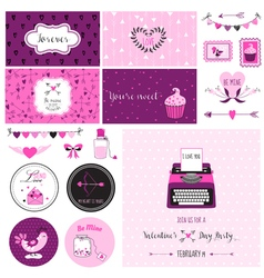 Cute Valentines Day and Love Scrapbook Set vector image