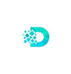 d letter pixel logo icon design vector image