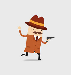 Detective ran with a gun in his hand vector