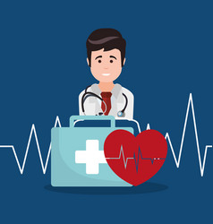 doctor kit first aid heartbeat vector image