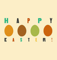 easter greeting card with ornamental eggs vector image