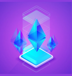 Ethereum cryptocurrency blockchain vector