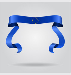 european union flag wavy ribbon background vector image