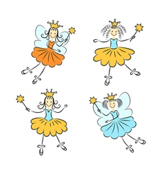 Fairy princess with a magic wand set vector image