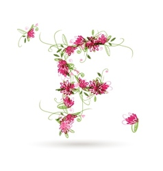 Floral letter F for your design vector image