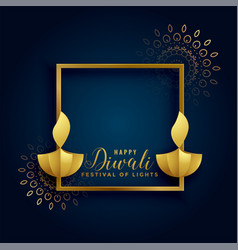Happy diwali golden background with two diya lamps vector