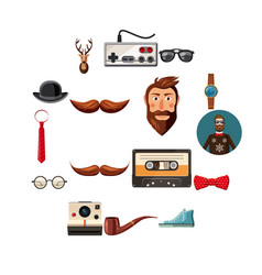 hipster items icons set cartoon style vector image