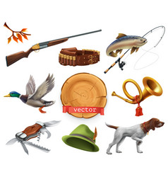 hunting set shotgun dog duck fishing horn hat vector image