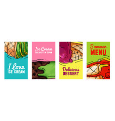 ice cream cards summer natural fresh and cold vector image