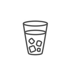 Ice tea line icon soda drink sign vector