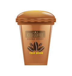 Iced coffee cup mock up realistic vector