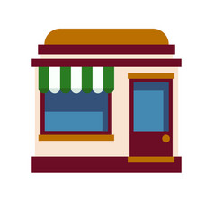 icon of the facade of the cafe with a white green vector image