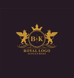 Initial bk letter lion royal luxury heraldiccrest vector