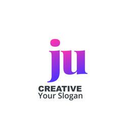 Initial letter ju lowercase design logo template vector