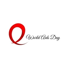 Isolated red ribbon disease awareness World Aids vector image