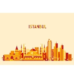 Istanbul Turkey skyline Flat design trendy vector