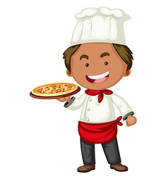 Italian chef with tray of pizza vector