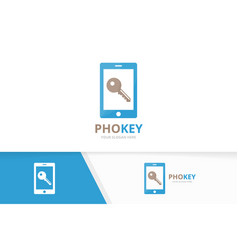 key and phone logo combination lock vector image