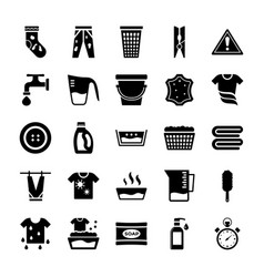 Laundry elements solid icons vector