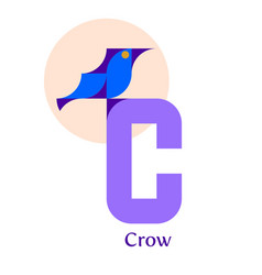 letter c - crow vector image