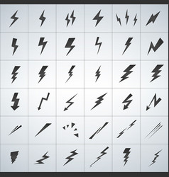 lightning set isolated on white background simple vector image
