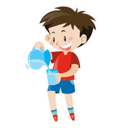Little boy pouring water from jar vector