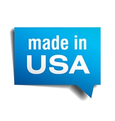 made in USA blue 3d realistic speech bubble vector image