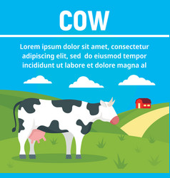 milk cow concept banner flat style vector image