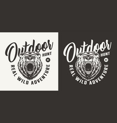 monochrome bear hunting club logo vector image
