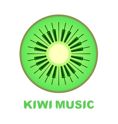 Music logo piano as kiwi fruit icon colorful vector