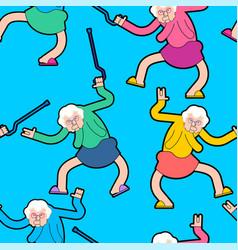 nursing home party pattern grandmother dance vector image