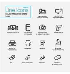 Online appliance store line design pictograms set vector image