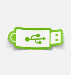 Paper sticker flash drive vector