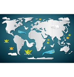 Paper World Map with Fish Boats Birds and Clouds vector