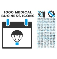Parachute calendar day icon with 1000 medical vector
