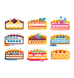 piece of layered delicious cake set cakes with vector image