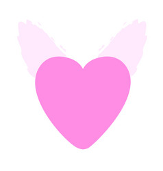 pink heart with pink wings vector image