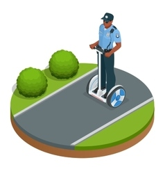 Police officer on fashionable two-wheeled self vector