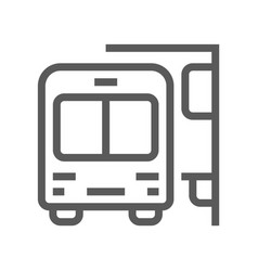 Public navigation line icon bus stop vector