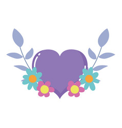 purple heart love flowers foliage isolated icon vector image