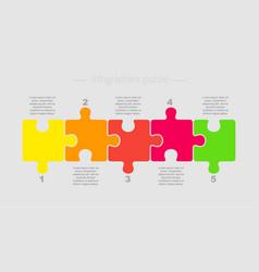 Puzzle five pieces part for business presentation vector