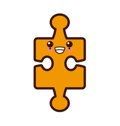 puzzle piece symbol cute kawaii cartoon vector image