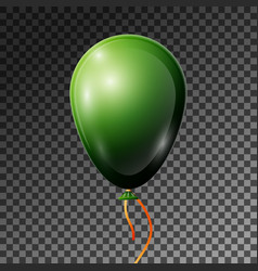 realistic dark green balloon with ribbon isolated vector image
